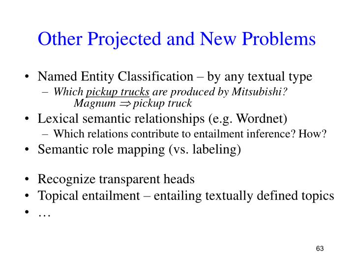 Other Projected and New Problems