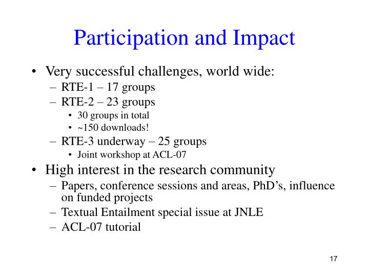 Participation and Impact
