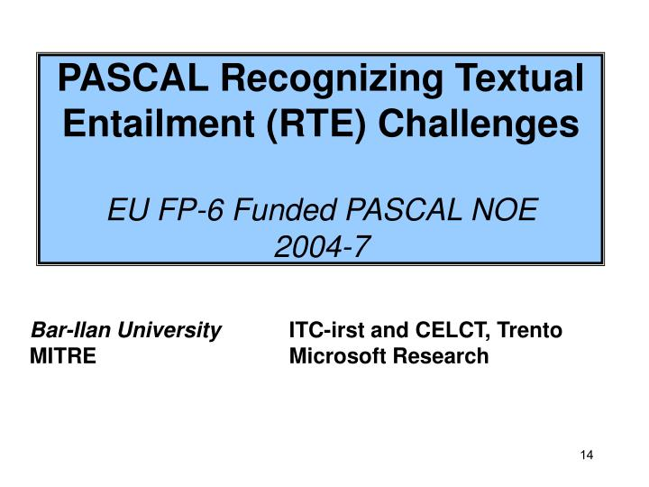 PASCAL Recognizing Textual Entailment (RTE) Challenges