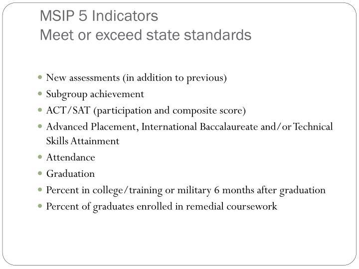 MSIP 5 Indicators