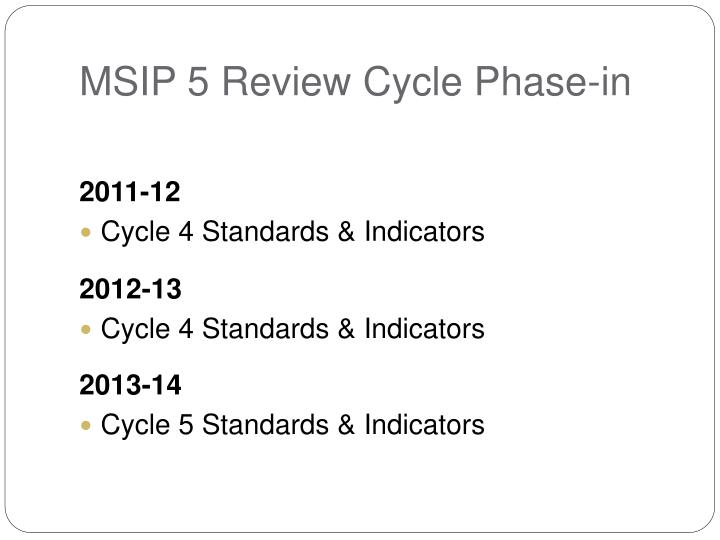 MSIP 5 Review Cycle Phase-in