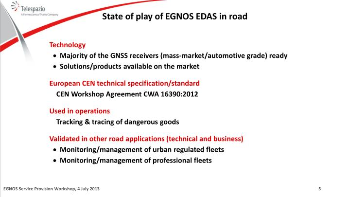 State of play of EGNOS EDAS in road