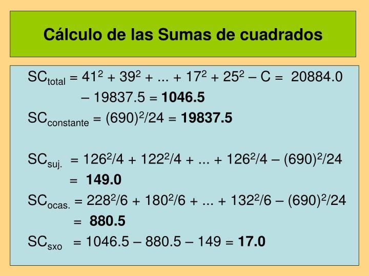 Cálculo de las Sumas de cuadrados