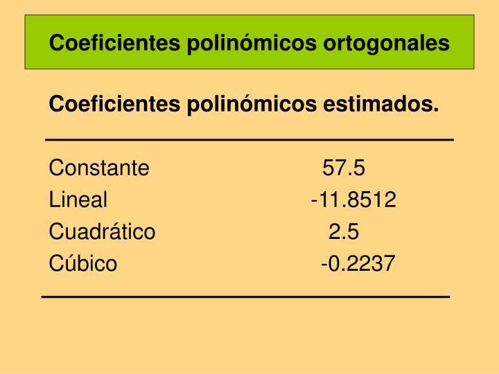 Coeficientes polinómicos ortogonales