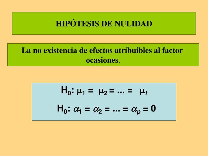 HIPÓTESIS DE NULIDAD