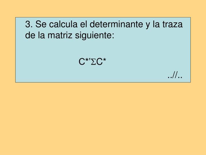 3. Se calcula el determinante y la traza de la matriz siguiente: