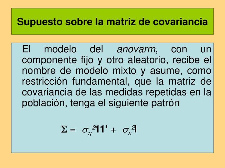 Supuesto sobre la matriz de covariancia