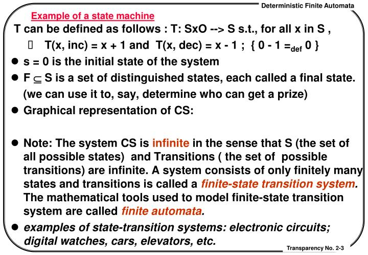 Example of a state machine