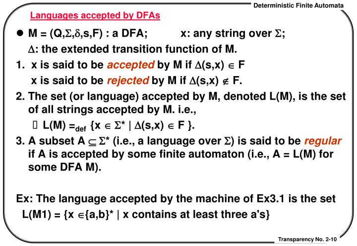 Languages accepted by DFAs