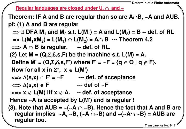 Regular languages are closed under U,