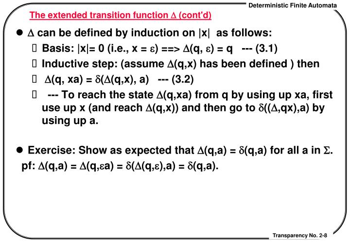 The extended transition function