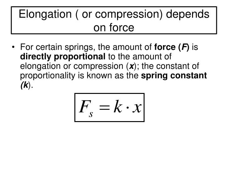 Elongation ( or compression) depends on force