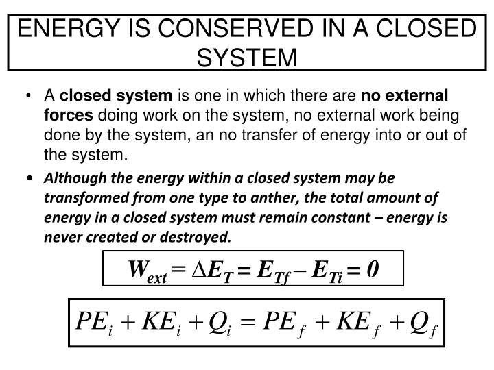 ENERGY IS CONSERVED IN A CLOSED SYSTEM