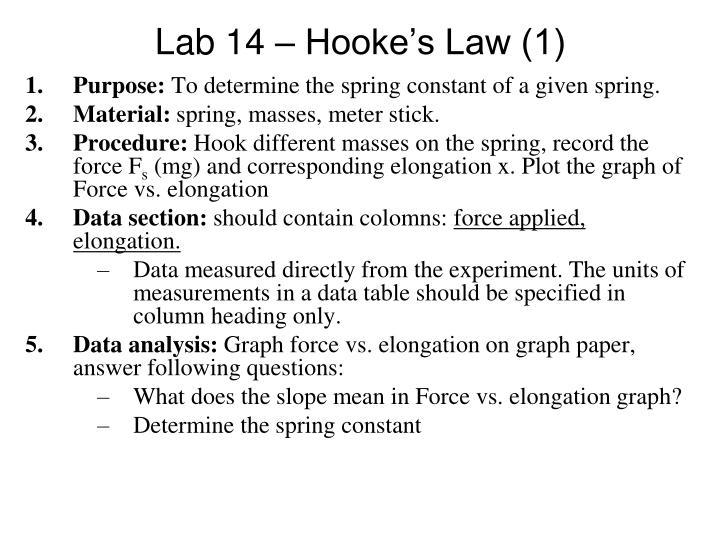 Lab 14 – Hooke's Law (1)