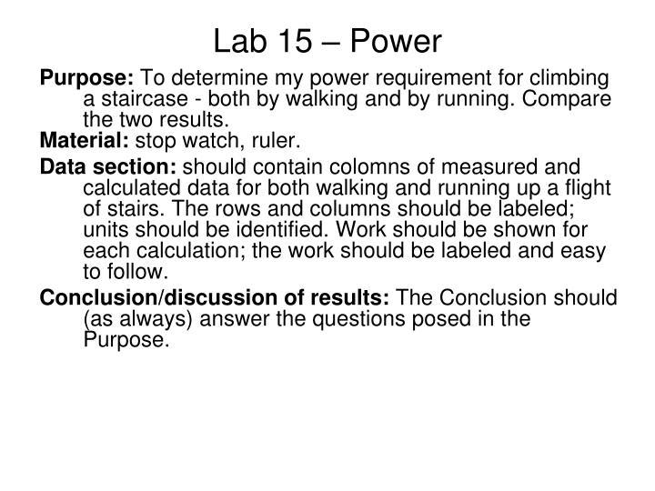 Lab 15 – Power