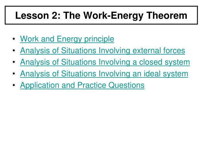 Lesson 2: The Work-Energy Theorem