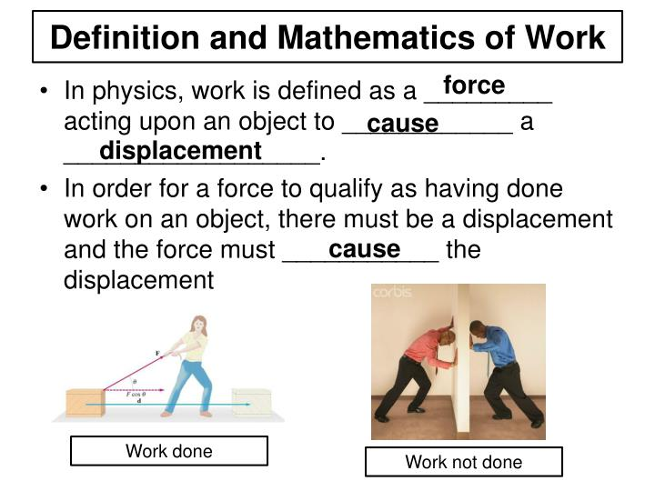 Definition and Mathematics of Work