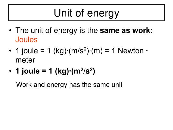 Unit of energy