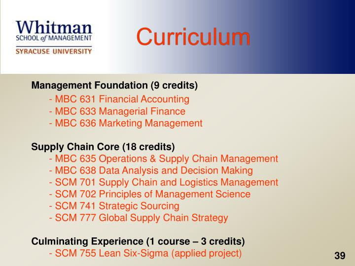 Management Foundation (9 credits)