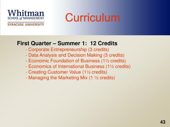 First Quarter – Summer 1:  12 Credits