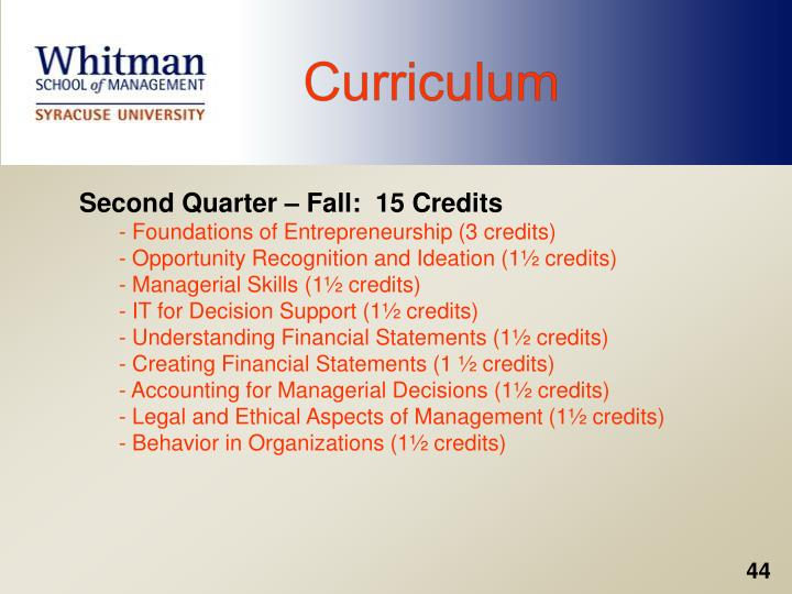 Second Quarter – Fall:  15 Credits