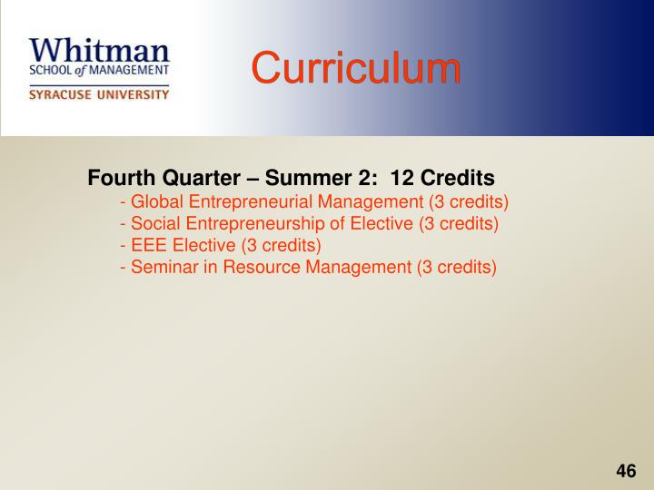 Fourth Quarter – Summer 2:  12 Credits