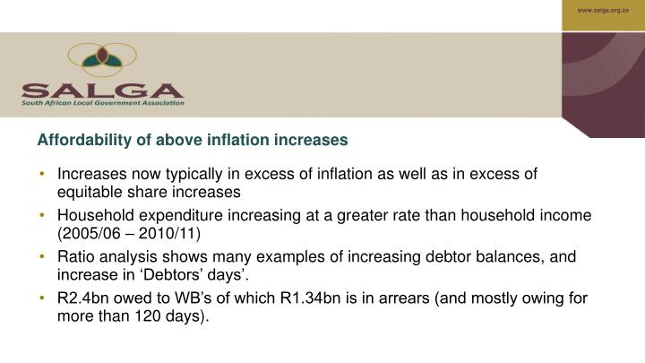 Affordability of above inflation increases