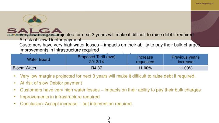 Very low margins projected for next 3 years will make it difficult to raise debt if required.