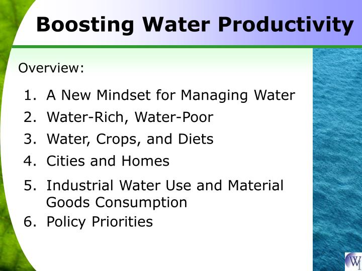Boosting Water Productivity