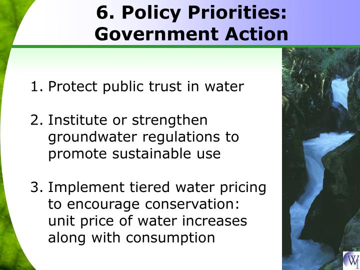 6. Policy Priorities: Government Action