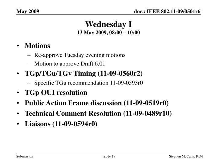 Wednesday I