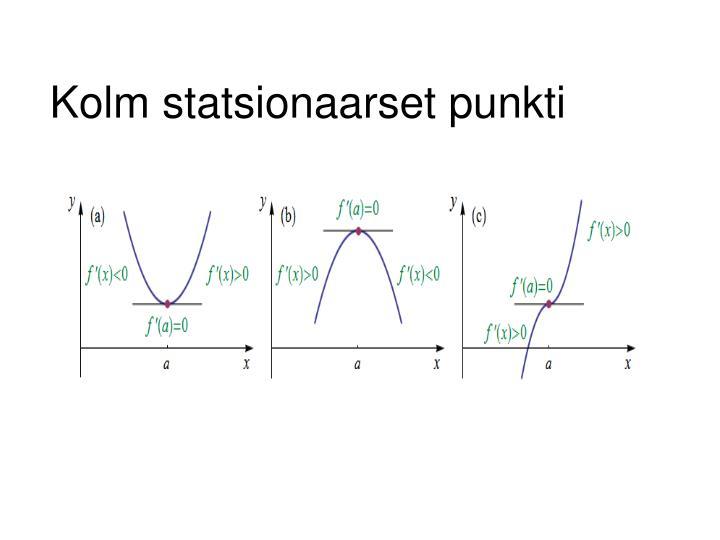 Kolm statsionaarset punkti