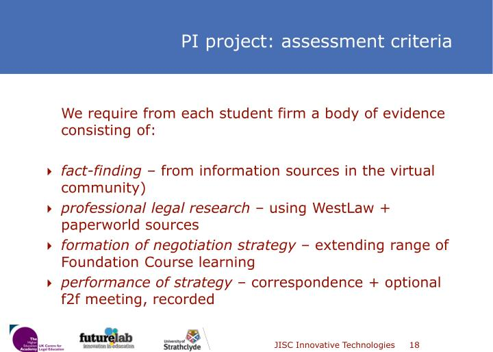 We require from each student firm a body of evidence consisting of: