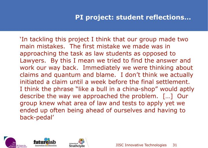 """'In tackling this project I think that our group made two main mistakes.  The first mistake we made was in approaching the task as law students as opposed to Lawyers.  By this I mean we tried to find the answer and work our way back.  Immediately we were thinking about claims and quantum and blame.  I don't think we actually initiated a claim until a week before the final settlement.  I think the phrase """"like a bull in a china-shop"""" would aptly describe the way we approached the problem.  […]  Our group knew what area of law and tests to apply yet we ended up often being ahead of ourselves and having to back-pedal'"""