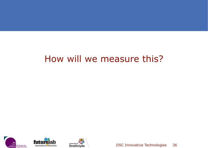 How will we measure this?