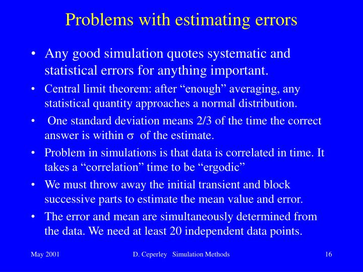 Problems with estimating errors