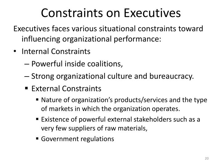 Constraints on Executives
