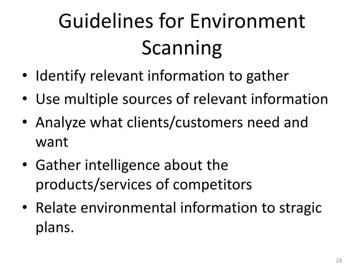 Guidelines for Environment Scanning