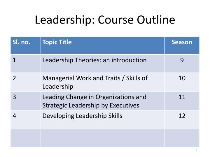 Leadership course outline