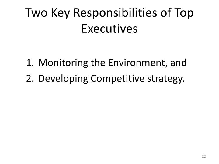 Two Key Responsibilities of Top Executives