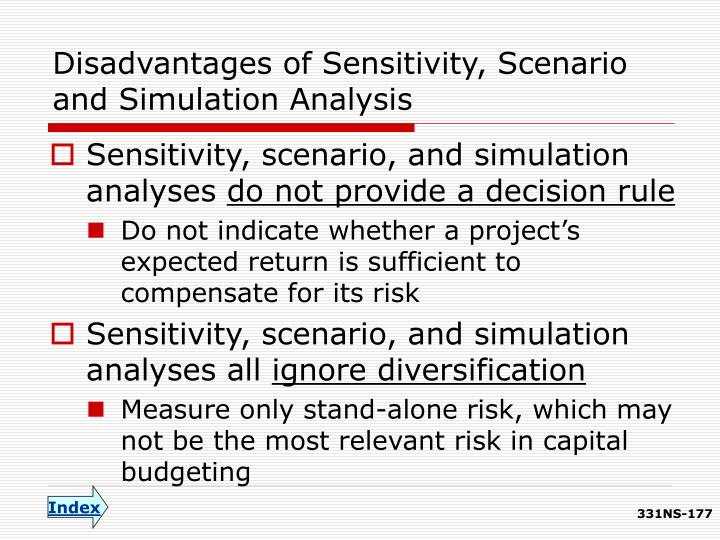 Disadvantages of Sensitivity, Scenario and Simulation Analysis