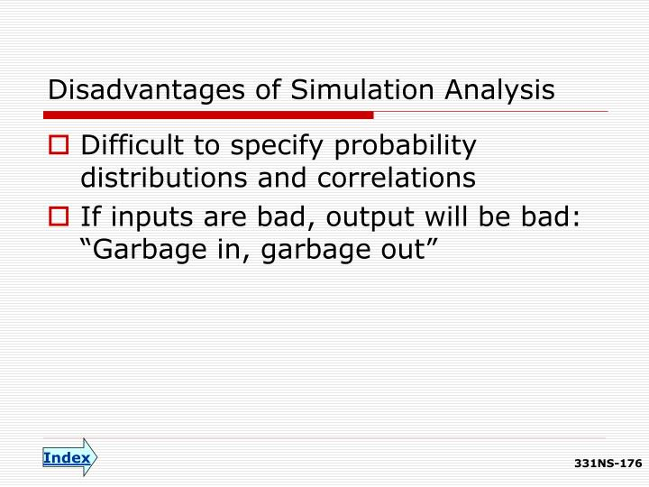 Disadvantages of Simulation Analysis