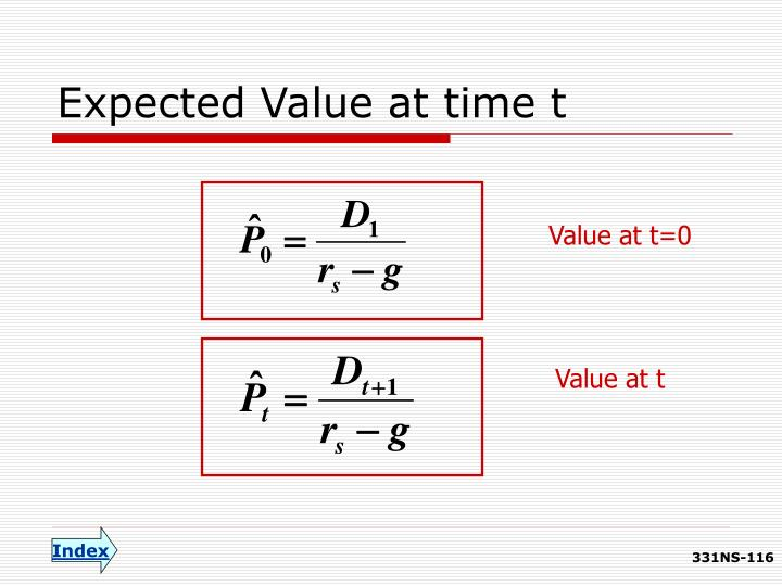 Expected Value at time t