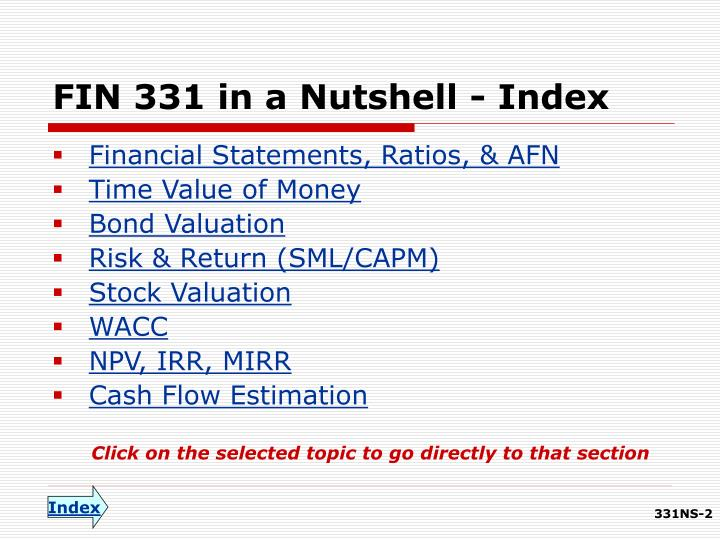 Fin 331 in a nutshell index