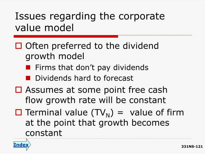 Issues regarding the corporate value model