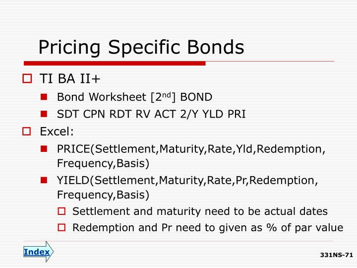 Pricing Specific Bonds
