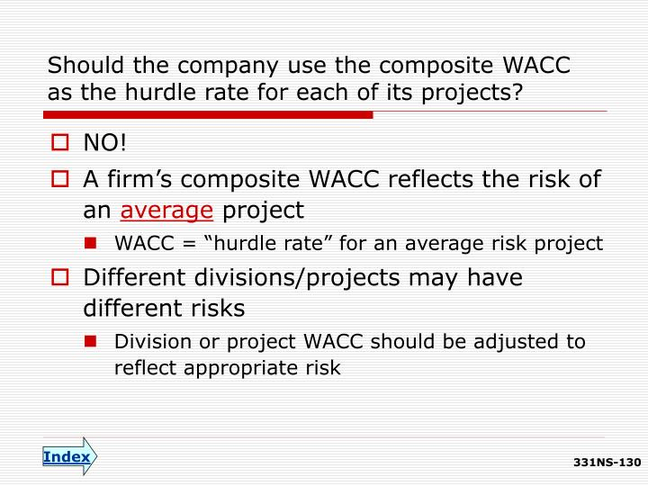 Should the company use the composite WACC as the hurdle rate for each of its projects?