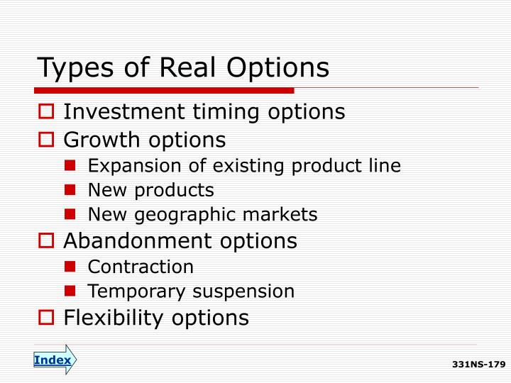 Types of Real Options