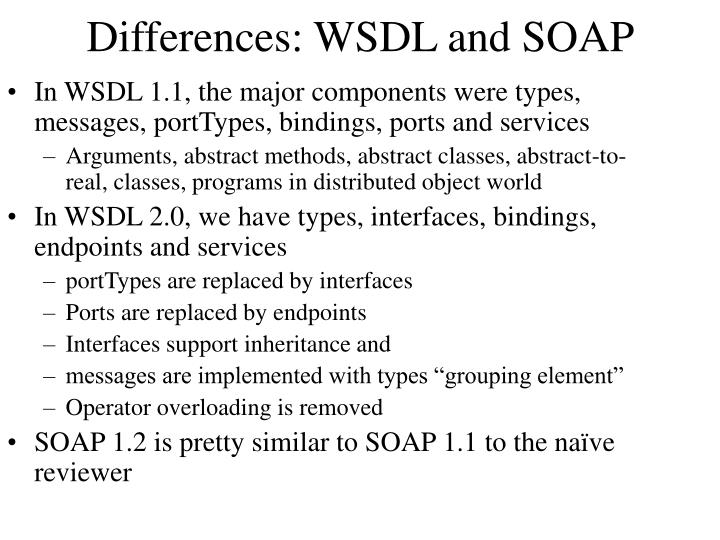 Differences: WSDL and SOAP