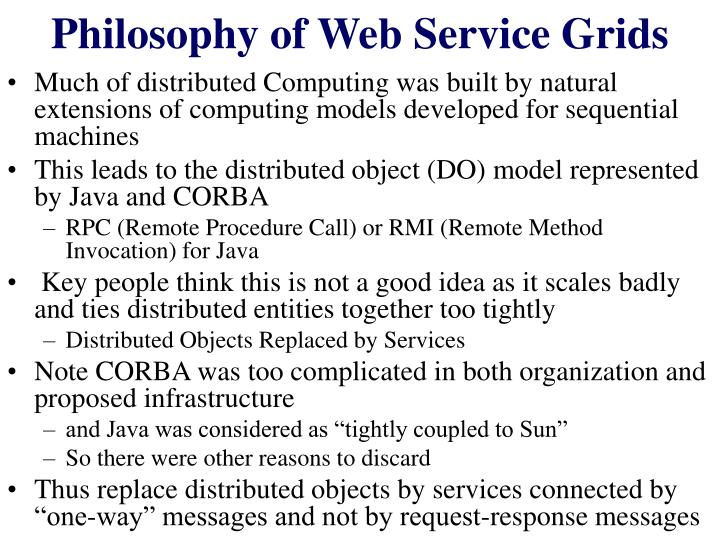 Philosophy of web service grids